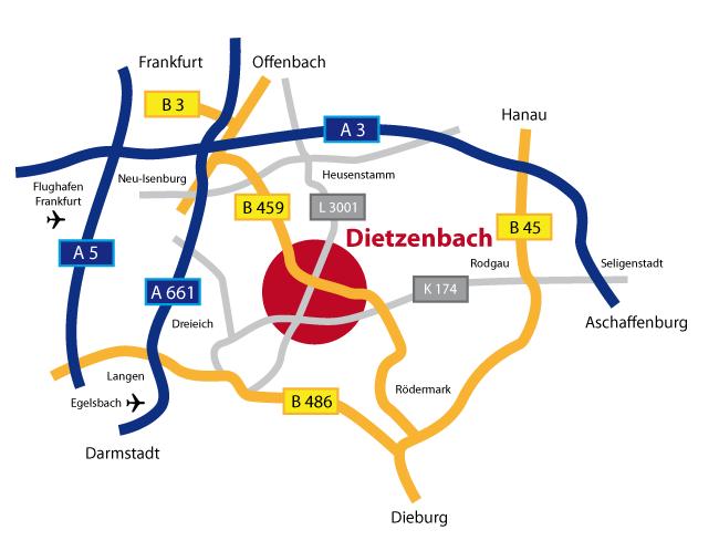 Wegweiser nach Dietzenbach